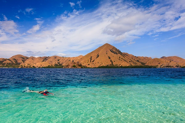 Stunning clear water and white sand beaches around the Angel Island Resort, situated on the peaceful island of Bidadari which is located within the UNESCO World Heritage Site of Komodo National Park.