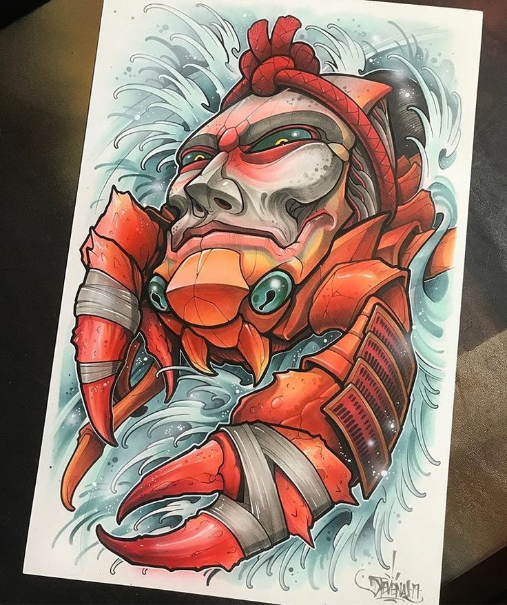 Fun take on a heike crab 11x17 acrylic marker ink and
