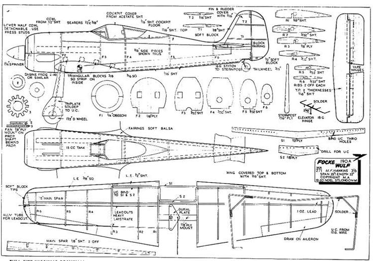 The Fw 190 is one of the model airplane plans available for download and printing.