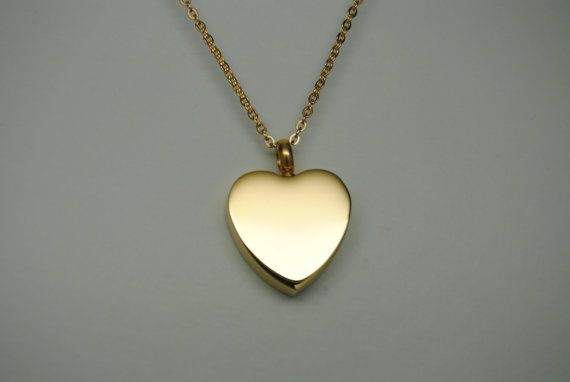 CREMATION JEWELRY Gold Heart Cremation Urn Necklace ENGRAVABLE Memorial Keepsake on Etsy, $21.99