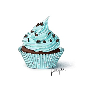 Blue Cupcake with Stars $7