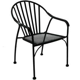 Picture of Black Wrought Iron Slat Patio Chair