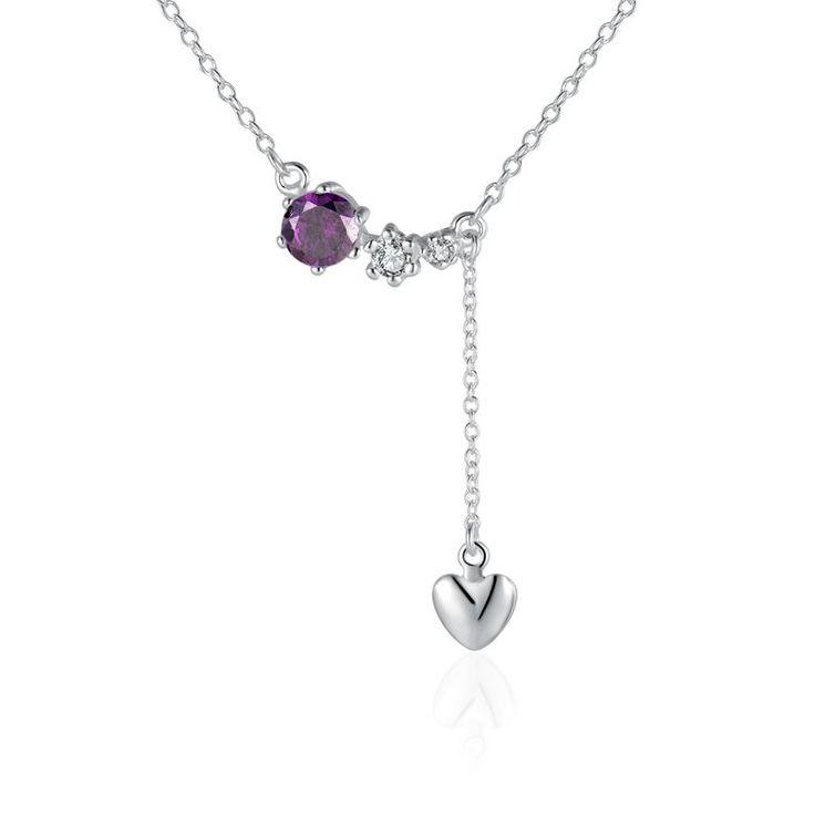 Купить Фиолетовый камень падения в форме сердца кулон ожерелье цепь ключицы для…