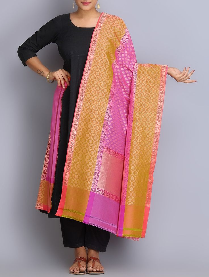 Buy Pink Orange Handwoven Benarasi Silk Dupatta Dupattas Woven Online at Jaypore.com