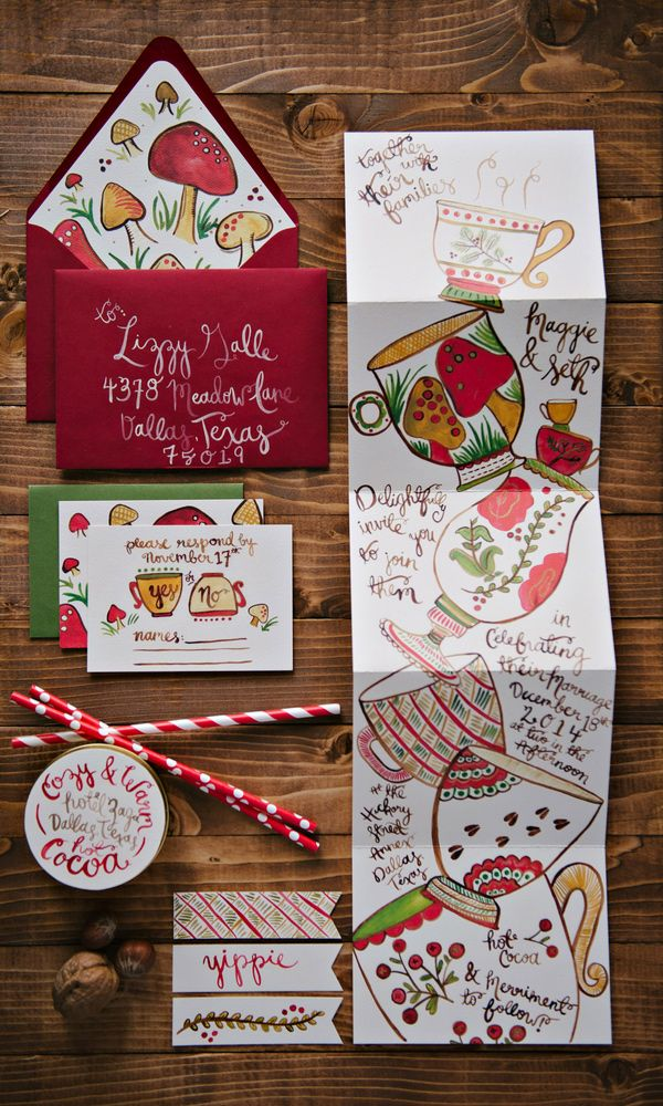 whimsical holiday invitations // photo by Nicole Berrett, invites by Lovely Paper Things // http://ruffledblog.com/fuchsia-holiday-celebration