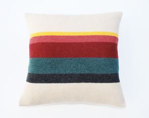 Image of CUSHION - OATMEAL/COLOUR STRIPE MADE IN SCOTLAND LUCY DONNELL.CO.UK