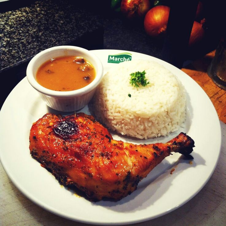 Marché favorite Chicken Leg w/ steamed rice.