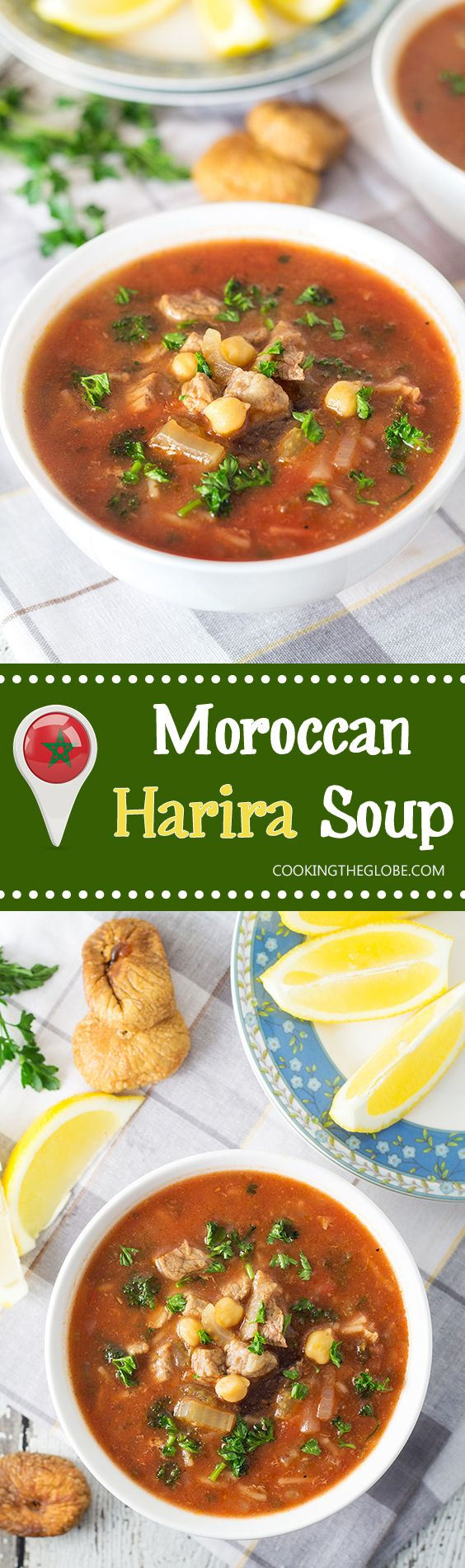 Harira soup comes from Morocco and combines beef, chickpeas, plenty of tomatoes, a few herbs and of course spices! | cookingtheglobe.com