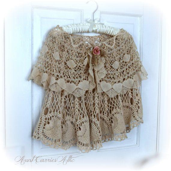 Capo scialle Poncho in pizzo Vintage e Crochet in strati