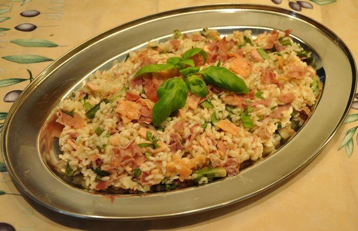 risotto med spekeskinke rokelaks og asparges