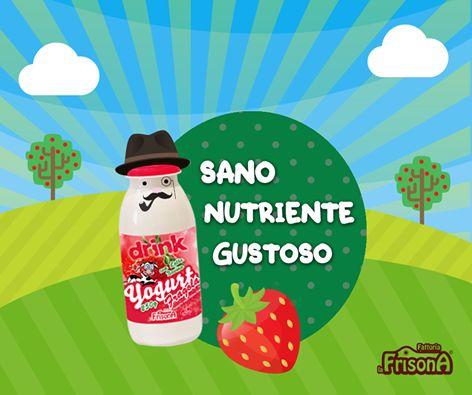 Spuntino mattutino da bere. Genuino ed energetico! www.fattorialafrisona.it  #buongiorno   #yogurt   #fragola   #drink