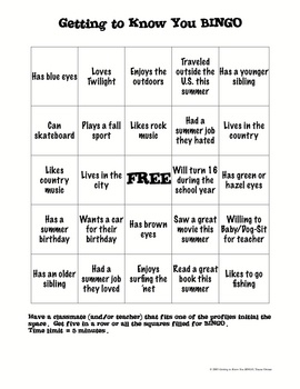 Free! Bingo icebreaker!!! Love this for my social skills group!!!!