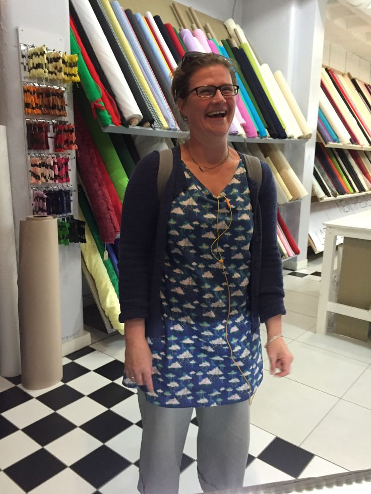 Louise wearing Liberty Cloud print top she made. liberty cotton from CLOTH Dublin