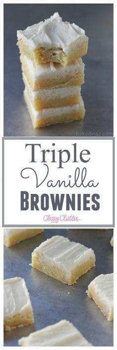 Triple Vanilla Brownies