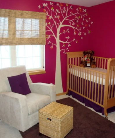 To get this look, use YOLO Colorhouse PETAL .04: Color Combos, Pink Nurseries, Wall Color, Trees Decals, White Trees, Pink Wall, Baby Rooms, Baby Girls Rooms, Girls Nurseries