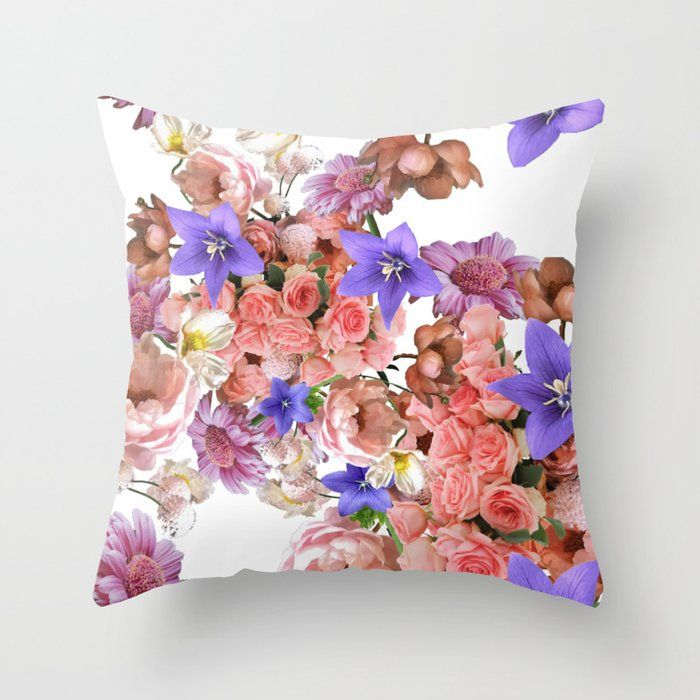 Floral Pink Flowers Throw Pillow By Domingorod Worldwide Shipping Available Just One Of Millions Of High Quality Products Availabl Throw Pillows Pillows Flower Pillow