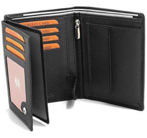 Portefeuille pour homme en real cuir – Porte monnaie 12,5 x 9,5 x 2 cm – Format nouveau permis de conduire – Noir