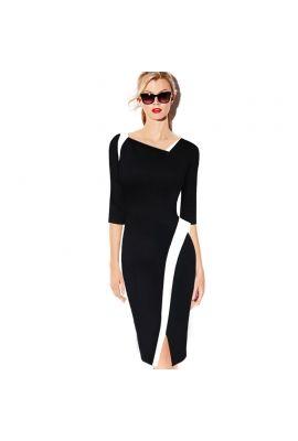 V Femage Kırmızı Siyah Beyaz Kalem Elbise