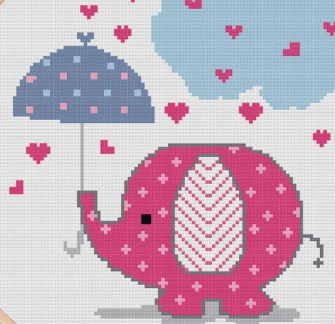 Cross stitch pattern of cute pink elephant. Patrón punto de cruz elefante rosado.