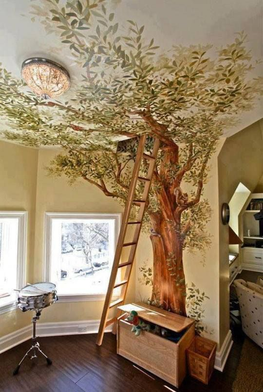 Inside tree mural Idea for Purple room
