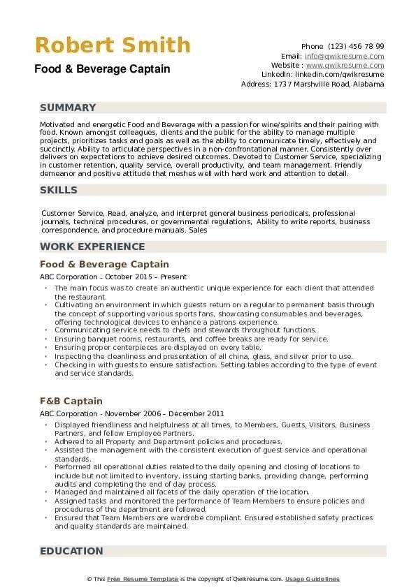 Captain Resume Samples Qwikresume Basic Resume Emt Basic Job Resume Examples
