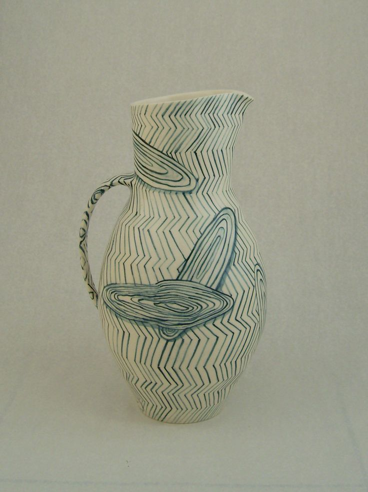 christine thacker, 1100deg, pigment under transparent glaze, 40cm approx h.