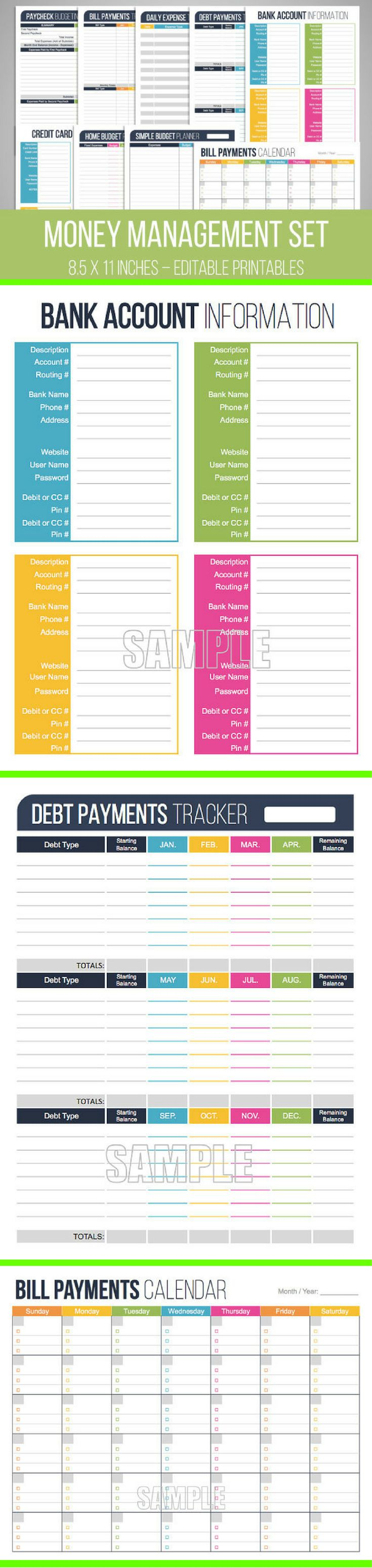 I have downloaded this editable Money Management Set from Etsy so I can better organize my Budget System and I absolutely love it!! Highly Recommended! #budgeting #finances #saving #moneysense #planners #affiliate