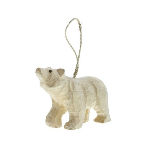 "The natural, artisan-carved ornament is a perfect take on the adored animals of the poles. Hang it on door knobs, walls, or anywhere for a great décor. - Dimensions: 1.25""W x 4""L x 2.5""H - Color: Natu"