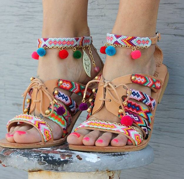 Beaded boho sandals. These are so much fun!! Loving the pom-poms. Dimitras Workshop on Etsy.