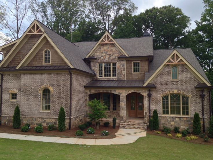 Image Result For Brick Homes With Stone Accents Brick Exterior House Exterior Brick Cladding Design