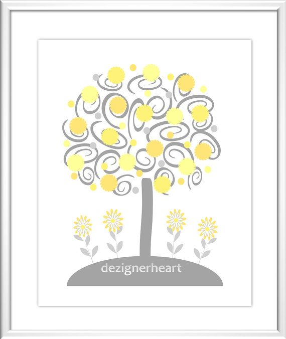 Baby Nursery Wall Art Yellow Gray Elephant by DezignerheartDesigns