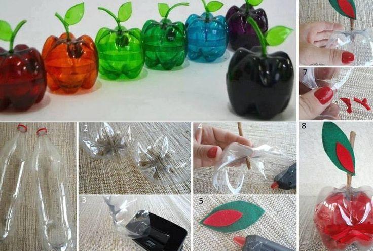 Vrolijke appeltjes van plastic flessen bodems. Misschien om sieraden in te bewaren..