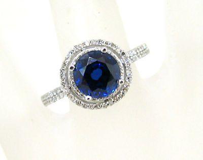 Zafiro Y Diamante Art Deco Micro allanar conjunto anillo 1,28 Ctw