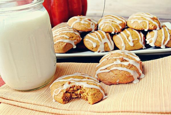 Iced pumpkin cookies - These turned out really good. More of a cake ...