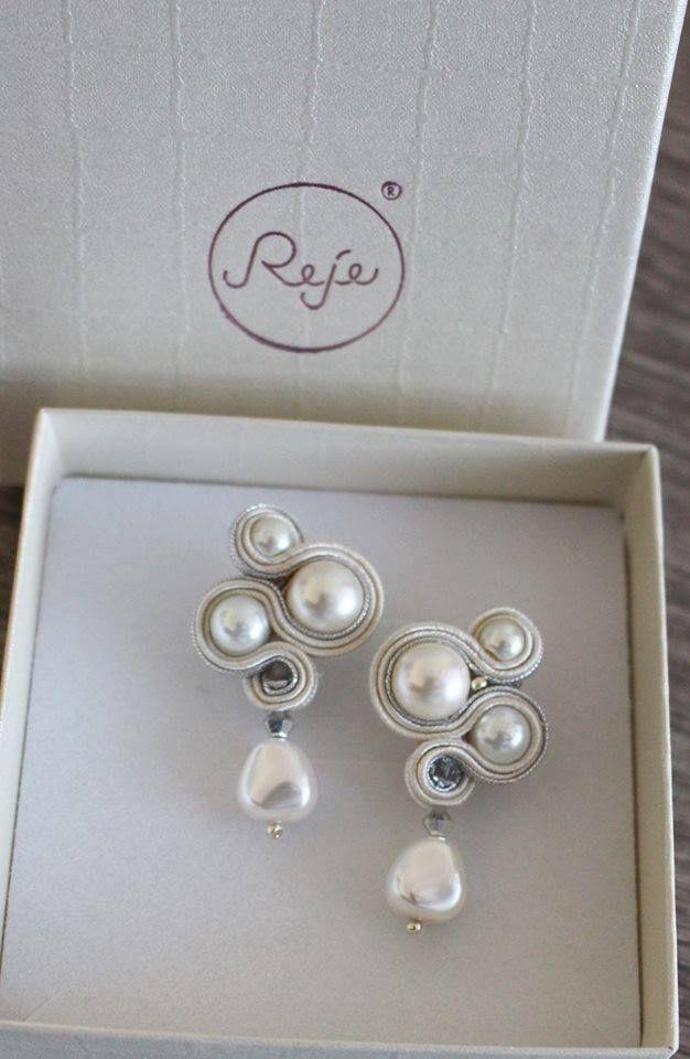 Soutache bridal earrings . Entirely hand-sewn by Reje, Italian jewelry designer.
