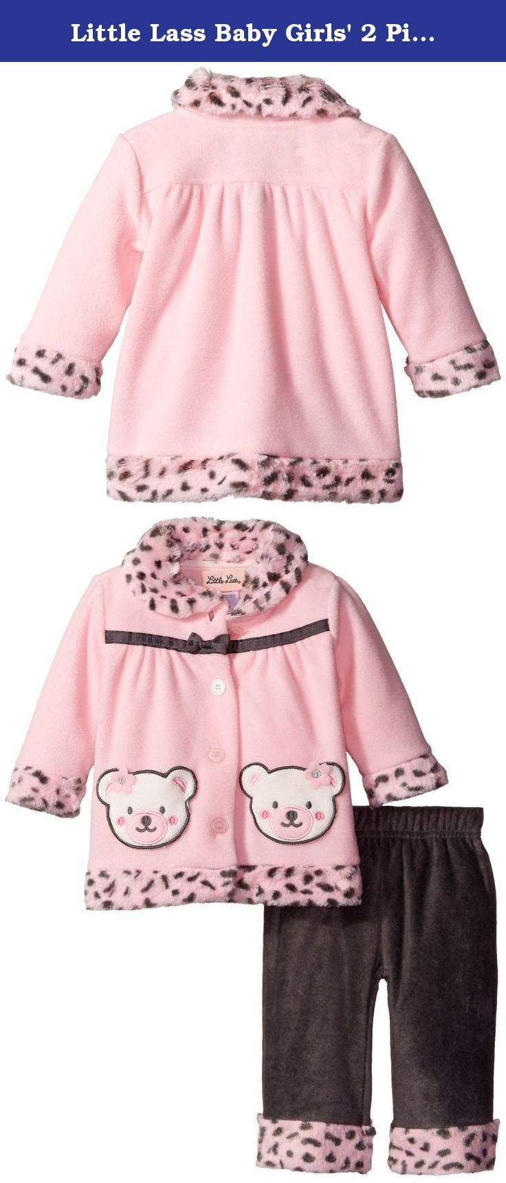Little Lass Baby Girls' 2 Piece Polar Fleece Jacket and Pant Set Bear Bow, Light Pink, 6-9 Months. Little Lass offers cute and comfortable styles with quality construction. She is adorable in this 2 piece polar fleece set with a bear applique patch pocket jacket and fleece pants.