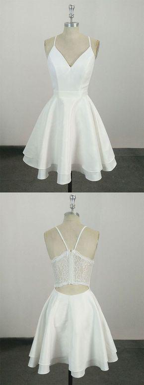 White v neck satin lace short prom dress, white homecoming dress