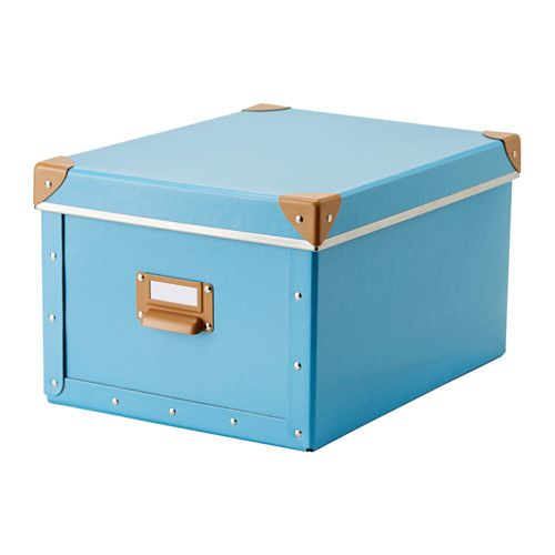 IKEA - FJÄLLA, Box with lid, blue, , Suitable for papers, photos, and other keepsakes.Easy to pull out as the box has a handle.The label holder helps you organize and find your things.