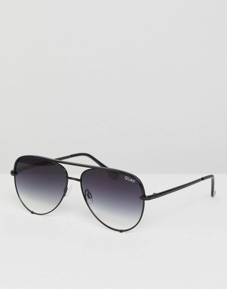 Quay Australia X Desi High Key Mini Aviator Sunglasses In Black Fade -