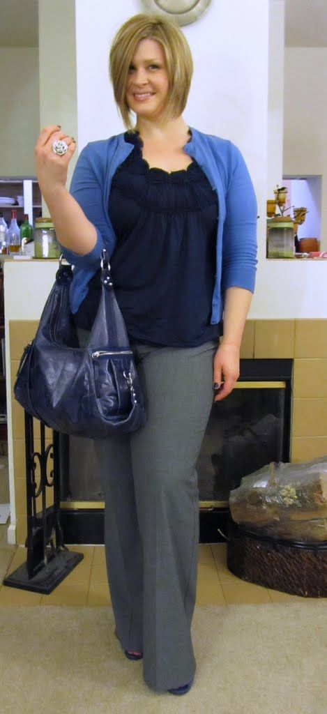 Blogger Surely Sonsy wearing shades of blue for work #plus_size_fashion #outfits #workclothes