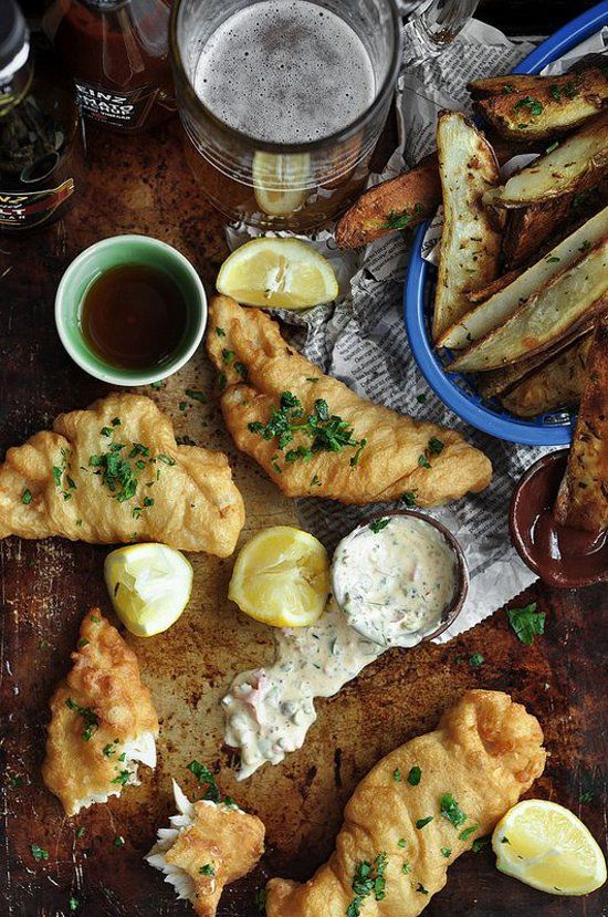 """dustjacketattic:  """" beer battered fish & garlic rosemary roasted chips 