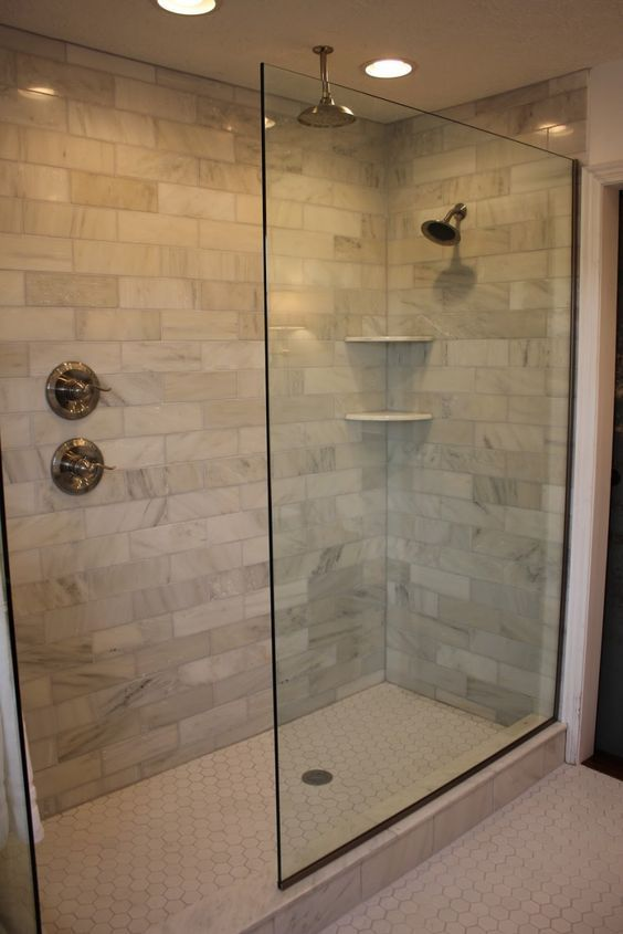 Bathroom. Incredible Doorless Walk In Shower Designs Ideas. Interesting Glass Doorless Walk In Shower Feature Double Contemporary Shower Head In Polished Chrome And Double Handle Shower Faucet In Chrome Cream Ceramic Wall And Hexagon White Ceramic Floor: