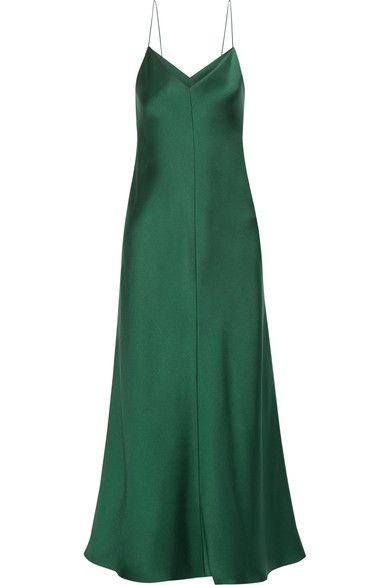 The Row  Emerald silk-satin Slips on 100% silk  Dry clean Designer color: Bottle Green