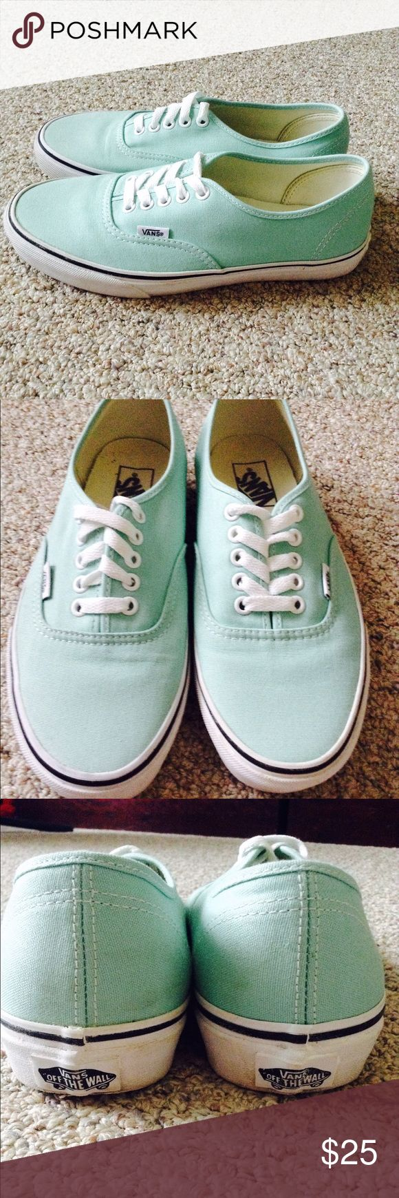 Mint Green Vans NWOT Super cute mint green vans only worn for less that an hour out of the store, in nearly perfect condition Vans Shoes Athletic Shoes