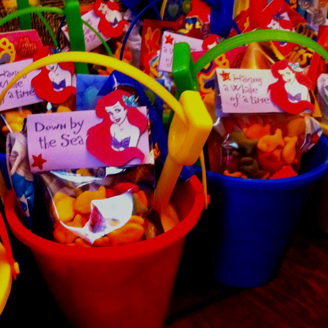 The candy bags for my daughter's 5th birthday party! Theme: The Little Mermaid.