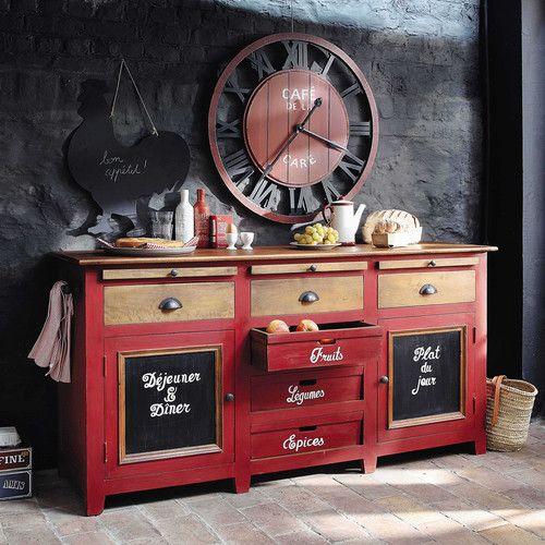 Horloge en bois rouge CAFÉ DE LA GARE