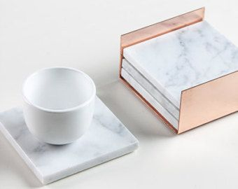 4 Square Carrara Marble Coasters Copper by Marbleandmetal on Etsy