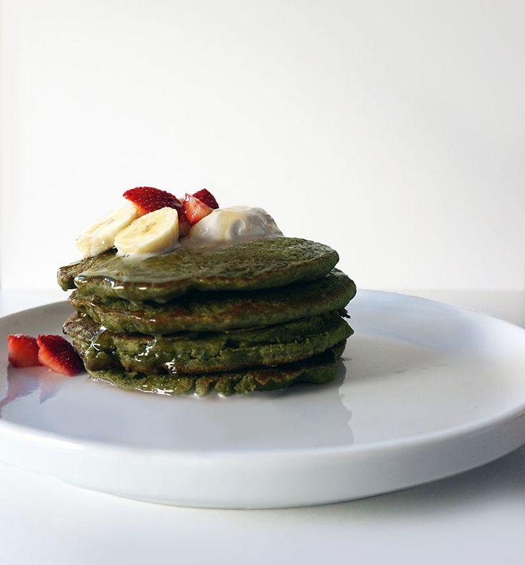 Gluten Free Matcha Pancakes made with Teff flour