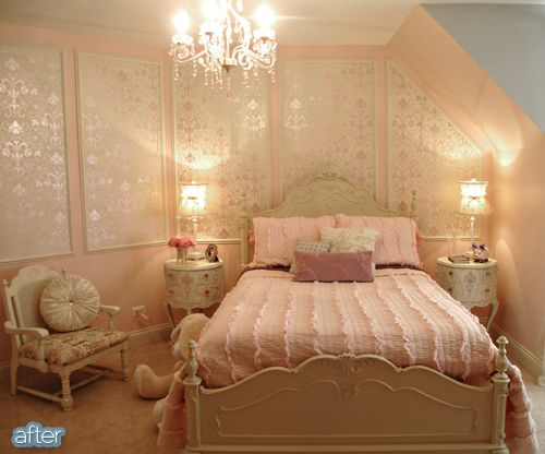pink princess room after-metallic stenciled panels, textured bed. Pretty.