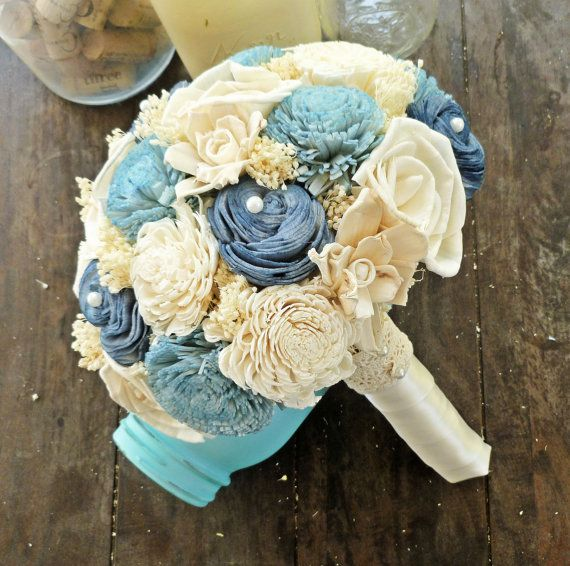 Handmade Wedding Bouquet-Medium Blue Ivory Bridal Bridesmaid Bouquet, Bouquet alternativa, Keepsake Bouquet, Rustico da sposa qualcosa di blu